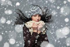Jul flicka, vinterbegrepp Arkivbilder