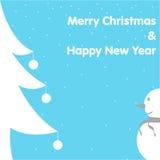 Jul & för kortsnögubbe för nytt år träd på blå bakgrund Royaltyfri Bild