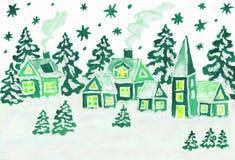 Jul föreställer i gröna färger Arkivbild