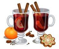 Jul funderade vin med kryddor, pepparkakakakan, apelsin vektor illustrationer
