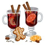 Jul funderat vin med kryddor, pepparkakaman, orange skiva royaltyfri illustrationer