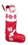 jul fylld röd strumpa för presents royaltyfri foto