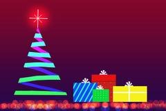 Jul gåva och julgran Arkivfoto