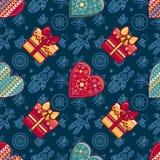 Jul Gåvaask och mönstrad hjärta seamless modell Royaltyfria Foton