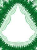 Jul gör grön den vita gränsen Shape av en julgran Frost P Arkivbilder
