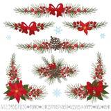 Jul girland för nytt år, gränser, hörnuppsättning Arkivbilder