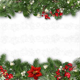 Jul gränsar på vit bakgrund med järnek, granen, vÃscum Royaltyfri Fotografi