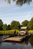 Jul. 2017, Graepel, germany, hand-operated pontoon ferry with car. Ior RV in germany stock images