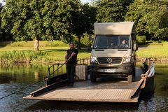 Jul. 2017, Graepel, germany, hand-operated pontoon ferry with car. Ior RV in germany stock photos
