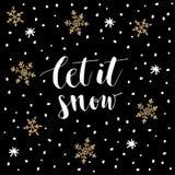 Jul hälsningkort för nytt år, inbjudan Handskrivet låt det snöa text Hand drog snöflingor och stjärnor vektor stock illustrationer