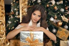 Jul Härlig le närvarande gåvaask för kvinna mode int royaltyfria bilder