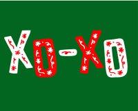 Jul hand-dragen bokstäver med klotter - XO-XO Arkivfoton