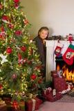 Jul hemma Fotografering för Bildbyråer