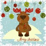 Jul hjortar, snowdrift på blå bakgrund Royaltyfri Fotografi