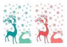 Jul hjortar, vektoruppsättning Arkivbilder