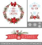 Jul hälsningkort för nytt år, baner, dekor Arkivfoto