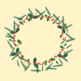 Jul Holly Berry Wreath Royaltyfria Foton