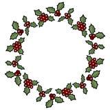 Jul Holly Berry Wreath Isolerad beståndsdel för vektortecknad filmferie garnering vektor illustrationer