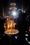Jul i domkyrkan för St Volodymyr'sen kiev Arkivbild
