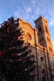 Jul i Florence, julgran i Piazza del Duomo i Florence med domkyrkan och det Giotto klockatornet i backgrouen Arkivfoto