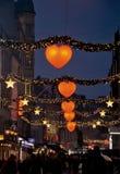 Jul i Köpenhamn på natten Arkivfoton