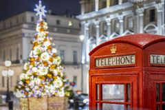 Jul i London under nattetid royaltyfri bild