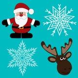 Jul icons-3 ekologiskt trä för julgarneringar Royaltyfri Bild
