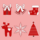 Jul icons-4 ekologiskt trä för julgarneringar Royaltyfria Bilder
