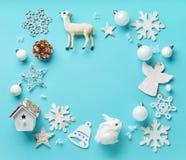 Jul inramar gjort av olika garneringar Royaltyfria Foton