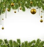Jul inramar med granfilialer och bollar Arkivbild