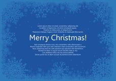 Jul inramar med snöflingor över blå bakgrund stock illustrationer