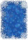 Jul inramar med snöflingor - blått stock illustrationer