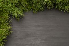 Jul inramar på svart träbakgrund med naturligt sörjer gran-filialer Orientering för juldesign Royaltyfria Foton