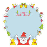 Jul inramar, Santa Claus och renen med linjen symboler Stock Illustrationer