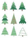 jul inställda stylized trees Vektorsamlingsgranar Arkivbilder