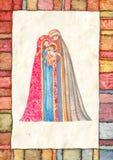 Jul: Jesus Christ Joseph, Mary vektor illustrationer