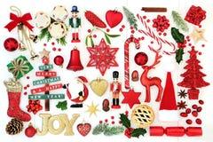 Jul Joy Sign och struntsakgarneringar Arkivbilder