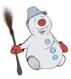 Jul kastar snöboll cartoon Arkivfoton