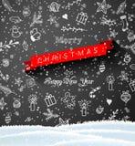 Jul klottrar på den svarta svart tavlan, säsongsbetonat tema vektor illustrationer