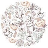 Jul klumpa ihop sig färgrikt skissar stock illustrationer