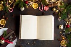 Jul kokbok eller meny royaltyfria foton