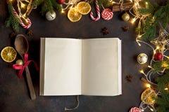 Jul kokbok eller meny fotografering för bildbyråer