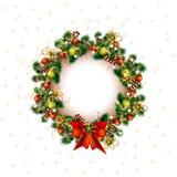Jul krans, juldekoträd i vit bakgrund, vektor stock illustrationer