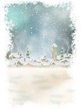 Jul landskap med julträdet 10 eps Arkivfoton
