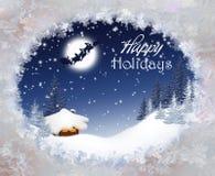 Jul landskap med Santa Claus Royaltyfria Bilder