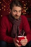 Jul - le manhåll varm drink- eller kakaokopp Royaltyfria Foton