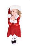 Jul: Liten Santa Girl Begs For Special gåva Arkivbilder