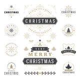 Jul märker och förser med märke uppsättningen för vektordesignbeståndsdelar Royaltyfri Foto
