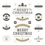 Jul märker och förser med märke uppsättningen för vektordesignbeståndsdelar Arkivbilder