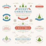 Jul märker och förser med märke uppsättningen för vektordesignbeståndsdelar Royaltyfria Bilder